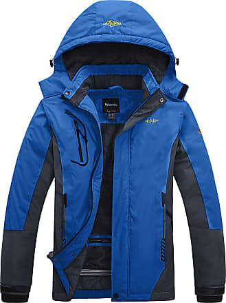 Wantdo Mens Anorak Outdoor Waterproof Jacket Fleece Ski Jacket Raincoats Blue XX-Large