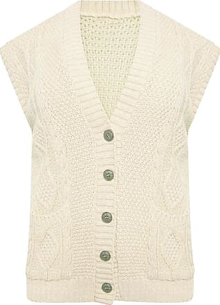 21Fashion Womens Sleeveless Cable Knitted Button Waistcoat Ladies Fancy Party Wear Grandad Pocket Cardigan Cream UK 16-18