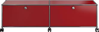 USM Haller Hi-Fi/TV Board mit 2 Klapptüren - USM rubinrot/mit Gegengewicht/152.3 x 43 x 37.3 cm/mit Rollen