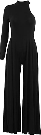 Be Jealous Womens Ladies One Shoulder Turtle Neck Flared Leg Palazzo All in One Jumpsuit Black