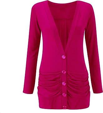 Momo & Ayat Fashions Ladies Viscose Button Up Ruched Pocket Boyfriend Cardigan UK Size 8-26 (Cerise, S/M (UK 8-10))