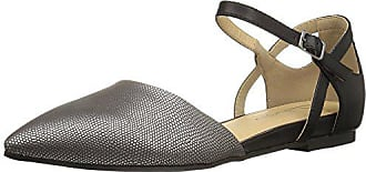 Chinese Laundry Womens Helena Pointed Toe Flat, Pewter/Black Lizard, 9.5 M US