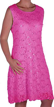Eyecatch Oversize - Fabia Womens Sleeveless Stretch Floral Sequin Lace Short Mini Evening Party Dress Plus Size Fushia 24-26