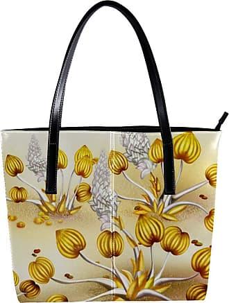 Nananma Womens Bag Shoulder Tote handbag with Yellow Peony Pattern Zipper Purse PU Leather Top-handle Zip Bags