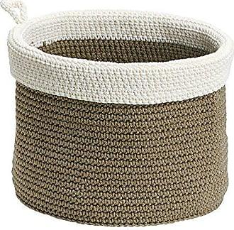 InterDesign Ellis, Hand Knit Round Organizer Bin for Towels, Blankets, Linens, Books, Accessories - Medium, Khaki/Ivory