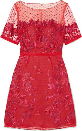 Marchesa Embroidered Flocked Tulle Mini Dress