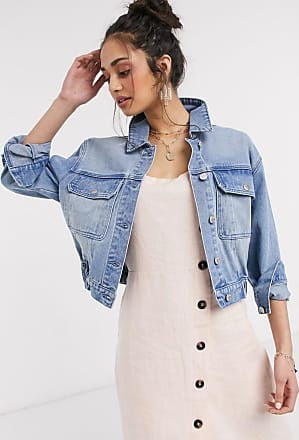 Urban Bliss denim jacket with elastic waist in light blue