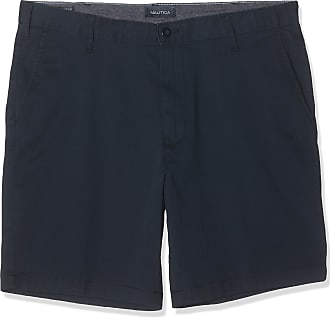 Nautica Mens Classic Fit Flat Front Stretch Solid Chino Deck Short Casual, True Navy, 36