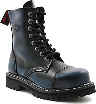 Angry Itch 8 Loch Gothic Punk Army Ranger Armee schwarze Leder Stiefel mit Stahlkappe 36 48 Made in EU!