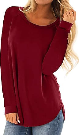 Kobay Womens Tops, Ladies Casual Round Neck Long Sleeve T-Shirt Loose Tunic Blouse Pullover Top Jumper Gifts for Women Red