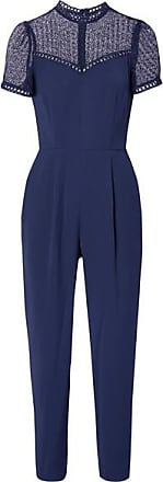 Michael Kors Guipure Lace-paneled Cady Jumpsuit - Navy