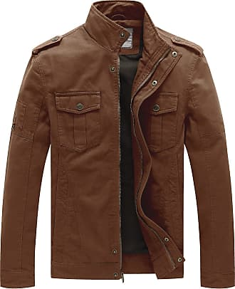 WenVen Mens Smart Windbreaker Cotton Military Jacket Brown XXX-Large