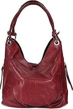 1f5a161097b92 Belli ital. Nappa Leder Shopper Handtasche Damentasche Ledertasche bordeaux  weinrot - 35x31(mittig)