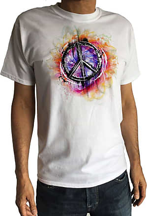 Irony Mens T-Shirt Hipster Peace Sign Military CND Peace Retro Antiwar Hippy TS1236 (White, XXLarge)