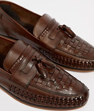 9dc483d6894 Asos Wide Fit Loafers In Woven Tan Leather With Tassel Detail - Brown