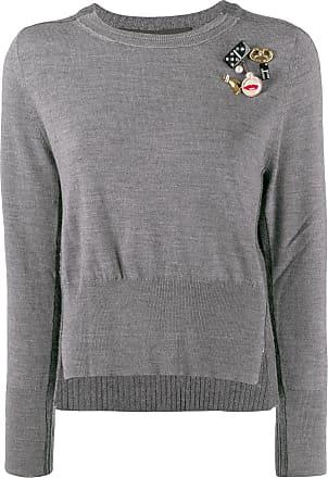 Marc Jacobs Suéter decote arredondado com aplicação - Cinza