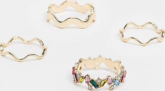 Asos Curve ASOS DESIGN Curve pack of 4 rings with rainbow crystal and plain zig zag in gold tone