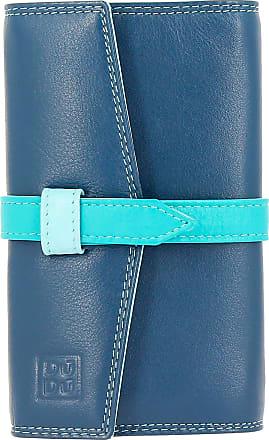 DuDu Portagioielli da Viaggio in Vera Pelle modello Borsello Borsetta Donna con 3 zip e 8 fori per orecchini Blu