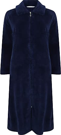 Slenderella Women/'s Zip Dressing Gown Soft Boucle Fleece Embroidered Housecoat