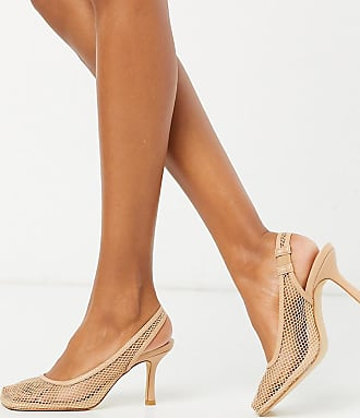Z_Code_Z Exclusive Ibna vegan mesh square toe heeled shoes in beige