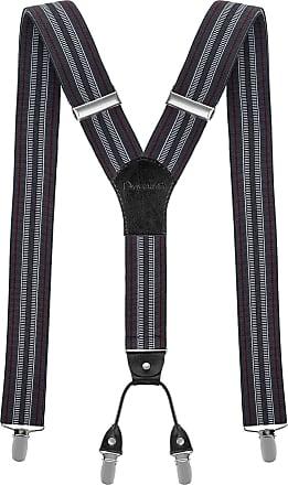 Decalen Mens braces wide adjustable and elastic suspenders Y shape 4 very strong clips - Smart Casual Menswear (Dark Grey 3)