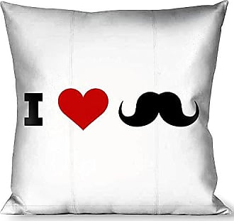 Buckle Down Pillow Decorative Throw I Heart Mustache White Black Red