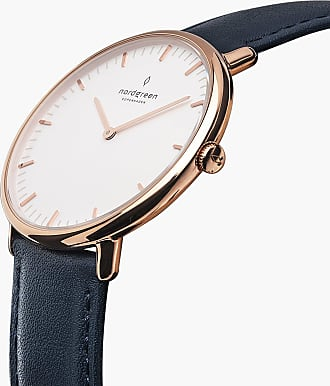 Nordgreen Native - Rose Gold | Navy Blue Leather - 36mm / Rose Gold