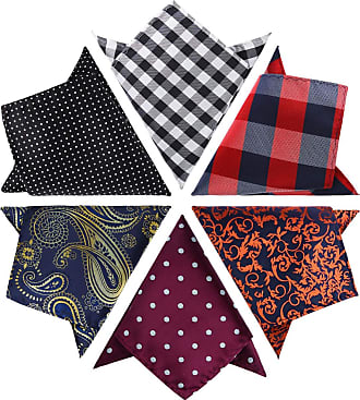 Hisdern 6 Pieces Mens Suit Pocket Square Assorted Handkerchief Hanky For Wedding Party