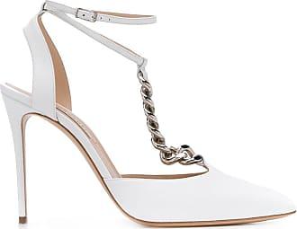 Casadei Sapato com alça de corrente e salto 115mm - Branco