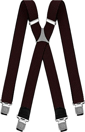 Decalen Mens braces wide adjustable and elastic suspenders X shape with a very strong clips Heavy duty (Dark Brown)