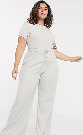 In The Style x Billie Faiers - Loungewear - Gerippter Jumpsuit mit weitem Bein in Stone-Beige
