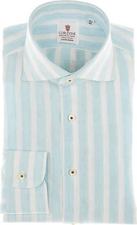 Cordone 1956 Camicia sartoriale Mod. Linen Big Stripes Turquoise And White - Tessuto lino - Colore turchese - Taglia 36