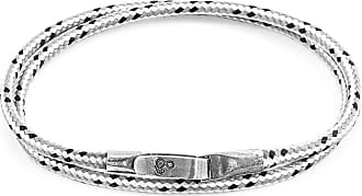 Anchor & Crew Grey Dash Liverpool Silver and Rope Bracelet - 19cm