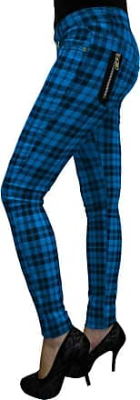 Banned New Womens Banned Plaid Tartan Emo Punk Skinny Trousers Size 26-40 (34, Blue)