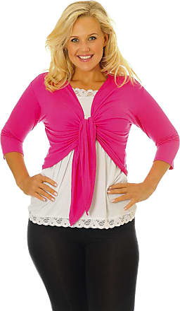 Nouvelle Collection New Womens Plus Size Shrug Ladies Top Front Tie Outwear 3/4 Sleeves Soft Sale Cerise 16-18