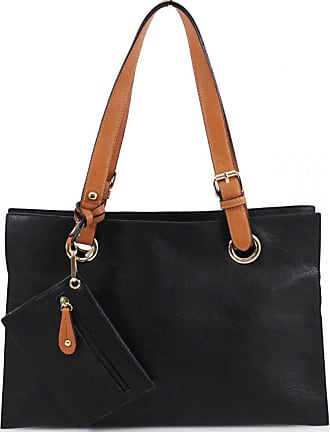 Craze London Womens Multiple Pockets Medium Size Long Strap Shoulder Bag,Ladies Shoppers Tote bag,Womens Shoulder Bag & Purse (Black)