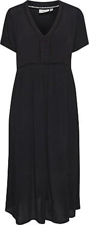 Ichi Schwarzes Midi Fernanda Kleid - medium