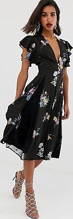 Asos Vestito midi con inserti in pizzo sul godet e stampa floreale viola-Multicolore