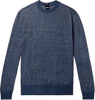 HUGO BOSS Franio Mélange Cotton And Linen-blend Sweater - Blue