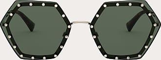 Valentino Valentino Occhiali Occhiale Da Sole Esagonale In Metallo Con Cristalli Donna Oro/verde 100% Fibra Metallizzata OneSize