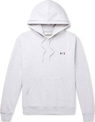 Ami Logo-embroidered Mélange Loopback Cotton-jersey Hoodie - Gray