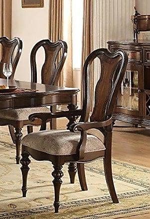 ACME 63773 Azis Arm Chair, Set of 2, Fabric/Dark Walnut