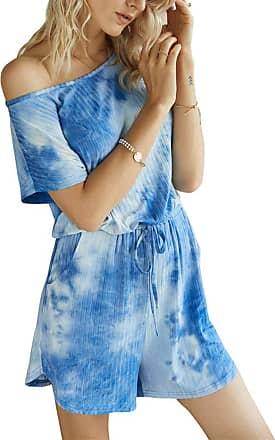 QIYUN.Z Sexy Round Neck Short Sleeve Drawstring Waist Jumpsuit Romper Blue XL