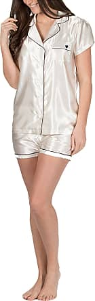 Forever Dreaming Womens Satin Top and Shorts Summer Pyjamas Cream X-Large