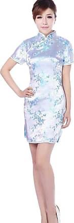 Zhuhaixmy Chinese Women Festive Classical Plum Blossom Printed Cheongsam Brocade Short Sleeves Qipao Dress XXL Blue