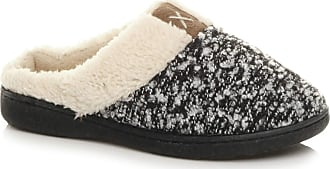 Ajvani Womens Ladies Flat Low Heel Winter Fur Lined Mules Slippers Size 7 40