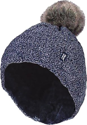 Heat Holders Ladies Warm Knit Fleece Lined Cuffed Thermal Winter Bobble Hat with Pom Pom (One Size, Blue)
