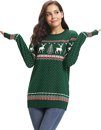 Aibrou Women Ugly Christmas Round Neck Jumper Reindeer Snowflakes Sweater Long Sleeve Vintage Knit Xmas Pullover Sweater Parent-Child Outfit(2 Green,Mum XXL)