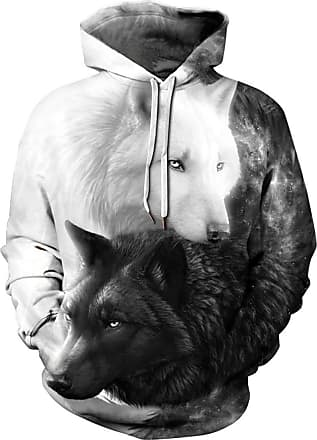EUDOLAH 3D Prints Pullover Jumpers Breathable Hoodies Patterned Sweatshirts for Mens Size S M L XL 2XL 3XL (Tag 2XL/3XL, 397wolves-e)