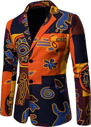 Inlefen Mens Casual Blazer Printed Casual Suit Autumn Winter Long Sleeve Fashion Business Wedding Slim Cotton 2 Button Man Tennager Coat Jacket Outwear Orange